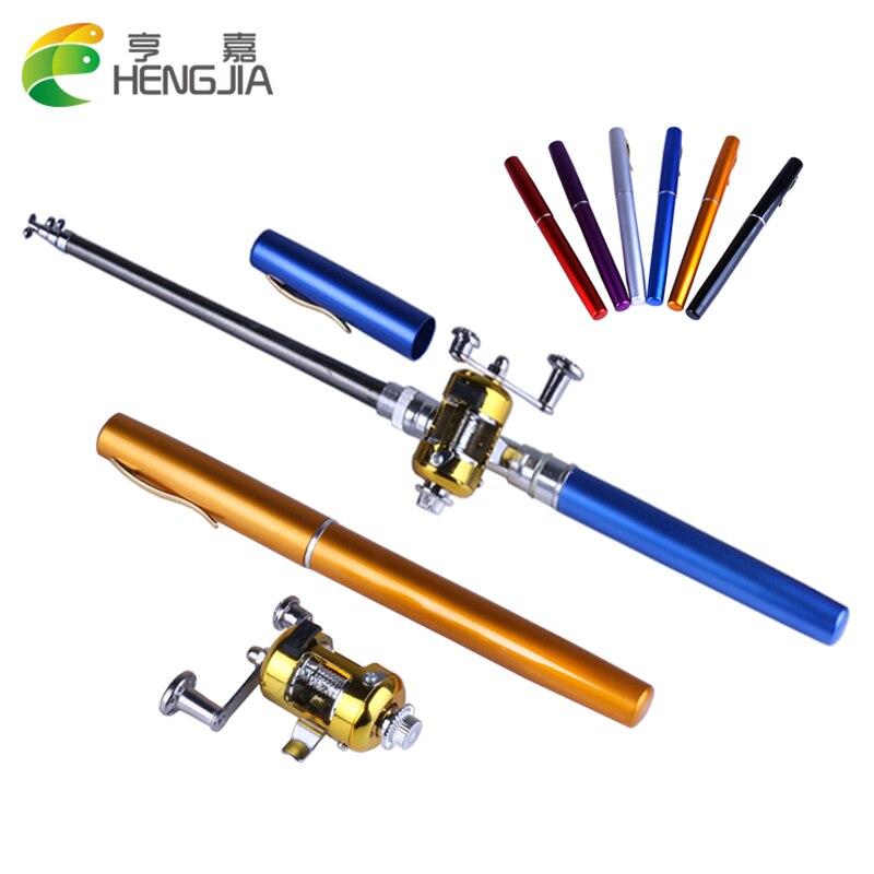 HENGJIA 1 set Pen Shape Telescopic Fishing Rod With Reel Wheel Portable Pocket Aluminum Alloy Mini reel
