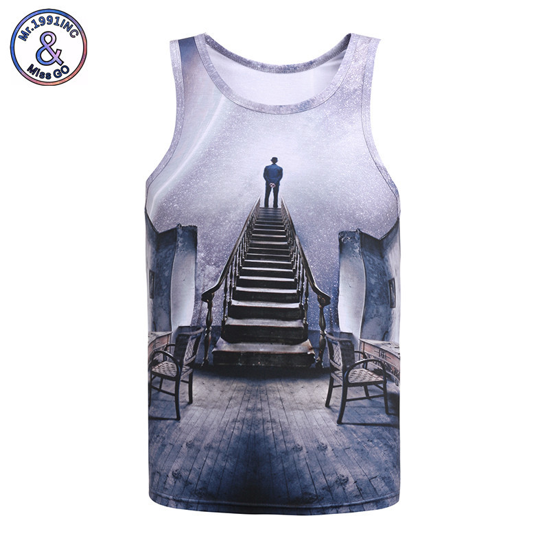 Mr.1991IN Summer Sleeveless Vest 3D Print View Blue Sky Creative Thinking Tank Tops Men/ ...