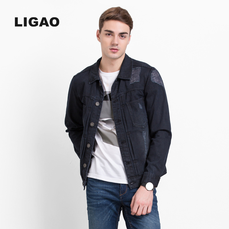 CCli Store LIGAO Men bomber Denim Jackets Coats blue black casual Long Sleeve 100% Cotton outwears Scratched Ripped Hole jean Jackets S-3XL