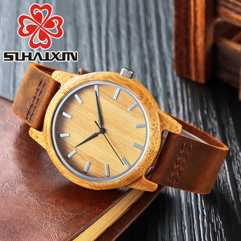 SIHAIXIN Clock Man Bamboo Watch Genuine Leather Band With Engraved Personalized Text Wood Wrist Watches As Male Gift sihaixin wooden watch male timepiece simple black design men top brand wrist watches nature hand made bamboo quartz clock man de