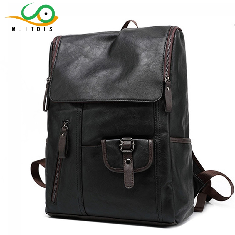 ФОТО MLITDIS PU Leather Men Backpacks For College Teenage Boys School Bagpack England Vintage 14inch Laptop Backpack Mochila