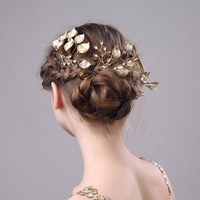 3 PCS Vintage Luxury Gold Leaf Bridal Hair Combs Wedding Hair Accessories Handmade Bridal Headpiece Tiaras