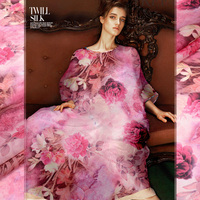 Pink Digital Printing Silk Organza Fabric Crisp Dress Satin Fabric Silk Organza Chinese Silk Fabric Wholesale