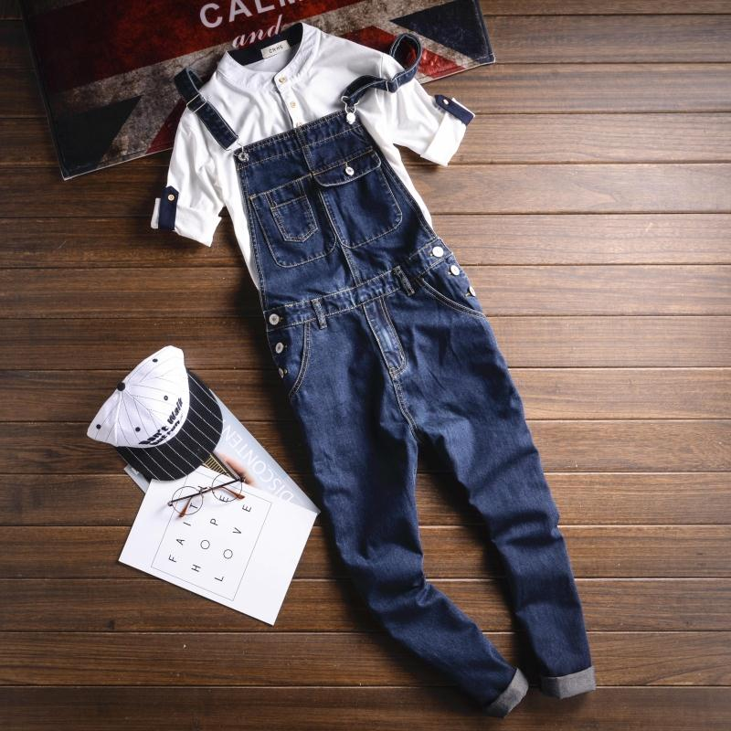Summer Multi pocket Blue Denim Overalls Fashion Bib Harem Jeans Mens Overall Jeans With Suspenders Pocket Ankle Length 063009 new mens skinny jean overalls blue suspenders multi pocket bib pants holes denim trousers size m 2xl