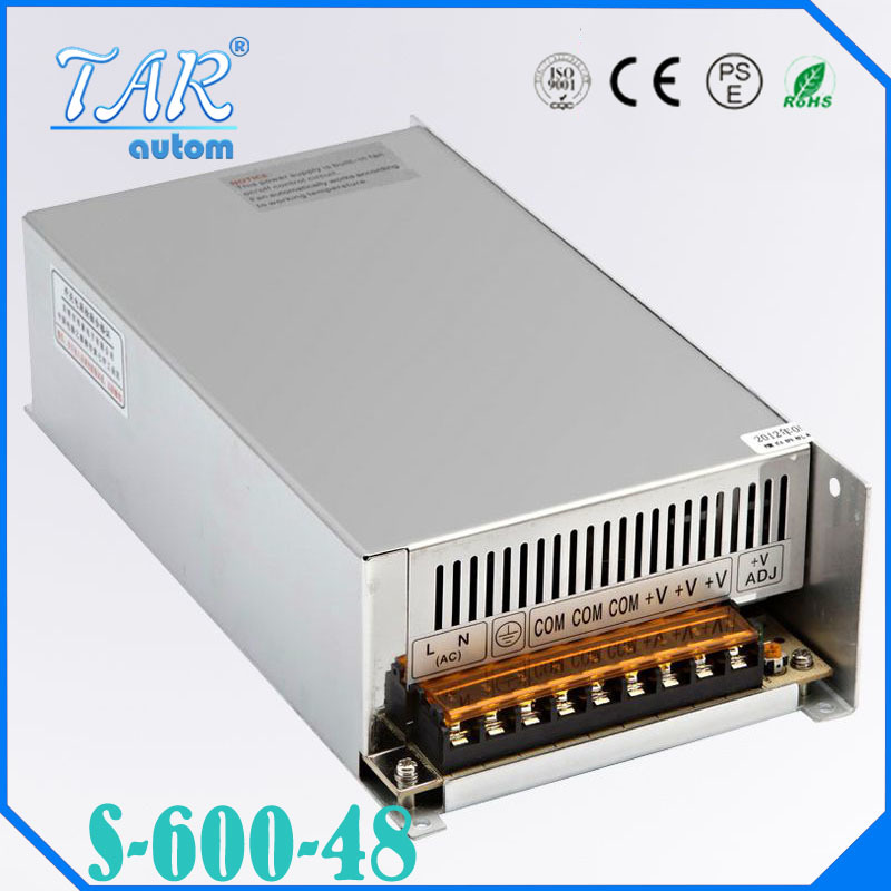 New arrival high quality 48V 12.5A 600W Switching Power Supply Driver for LED Strip AC 100-240V Input to DC 48V free shipping best quality 48v 7 3a 350w switching power supply driver for led strip ac 100 240v input to dc 48v free shipping