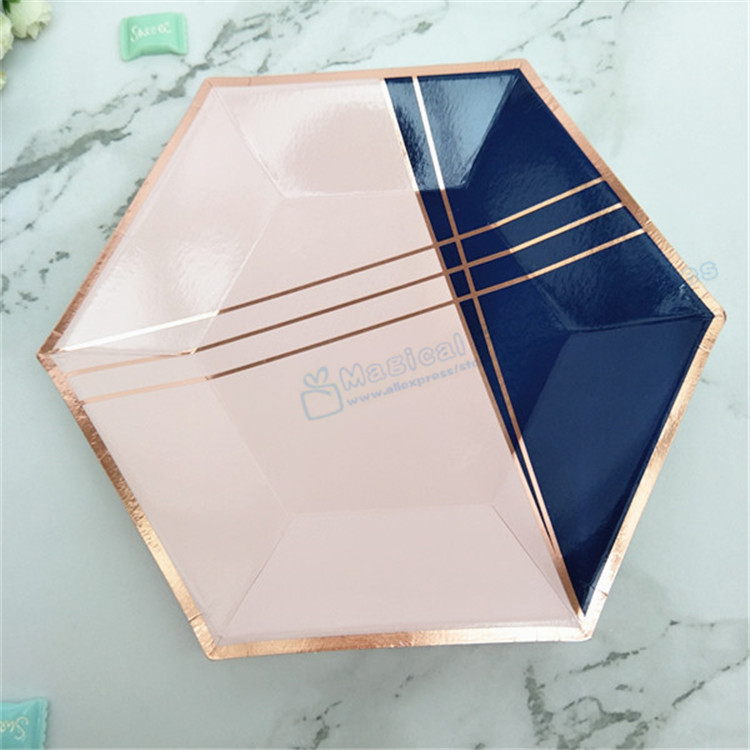 80pcs Navy & Rose Gold Hexagon Small Party Plates Wedding Bridal Shower Engagement Bachelorette Party Baby Shower Tableware