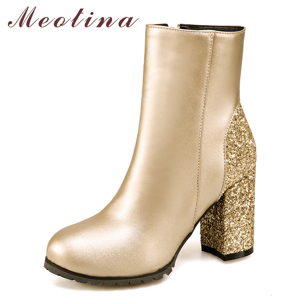 Meotina Women Autumn Shoes High Heels Female Ankle Boots Gold Glitter Thick  Heels Winter Boots Shoes 2018 Zip Large Size 33-46 3a6639d7c448