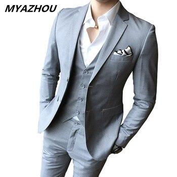 9ef695720d (Chaqueta + Pantalones + chaleco) los nuevos hombres de color sólido de  traje de corte slim 3 piezas boutique de moda de los hombres de la boda de  los ...