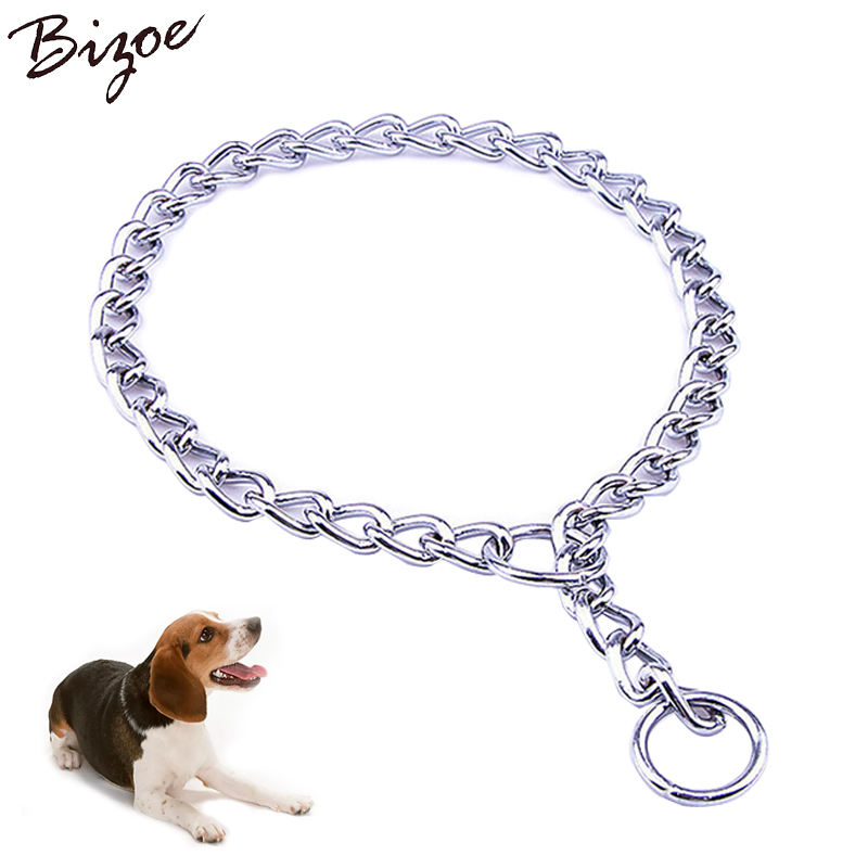 S,M,L Stainless Steel Pet Dog Training P Chain Collar Durable Choke Dog Collar Twisted Chains