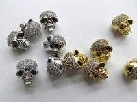12 cái 9x13 mét cubic zirconia micro pave kết nối đồng thau skull skeleton gunmetal vàng bạc mix charm finding