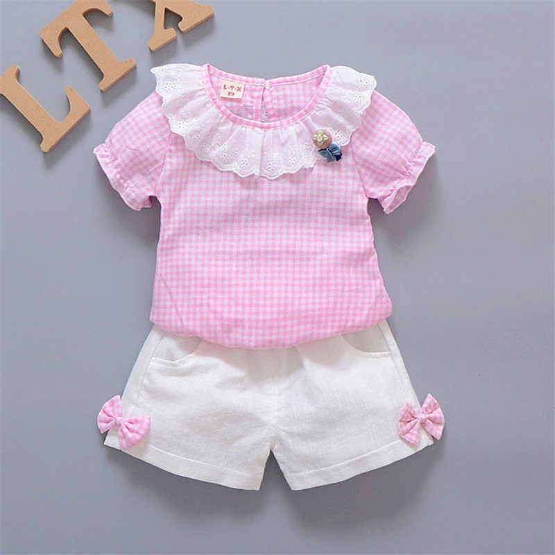 BibiCola Baby Girls Clothing Set Kids Clothes 2018 New Summer Children Sets plaid T-shirt + Shorts Girls clothes suits 1-4 Y