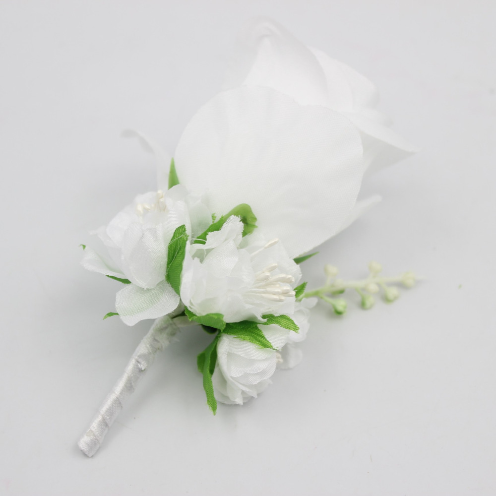 Ivory White Yellow Blue Wedding Flowers Groom Boutonniere Best Man