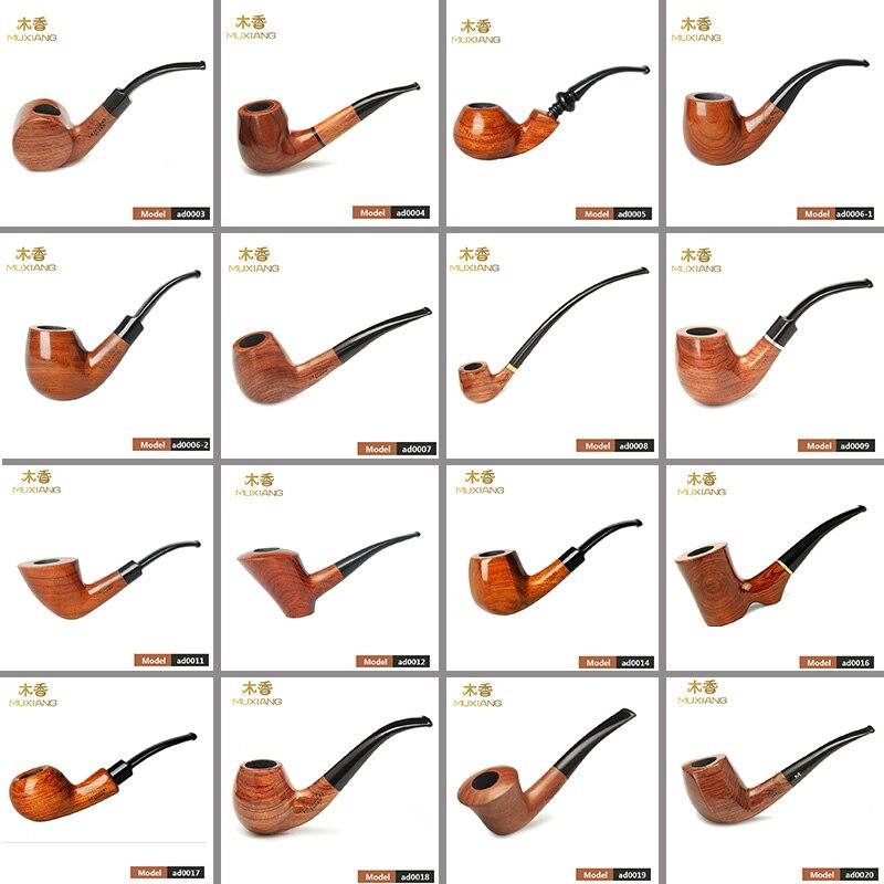 RuMUXIANG 16 Types Rose bois fumer tuyau à la main en bois tabac tuyau Cigarette fumer tuyau ad0003-ad0020