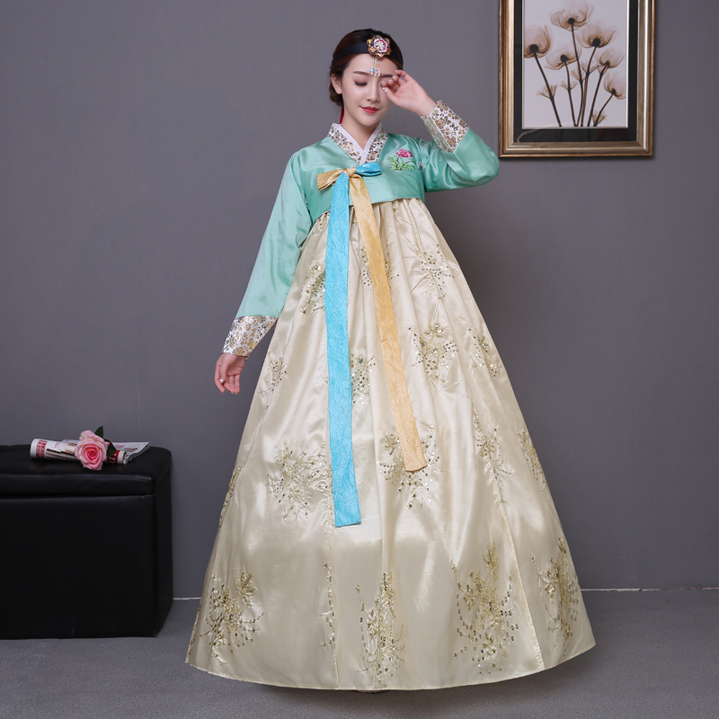 2017 Eestikeelne tikkimine traditsiooniliste naiste kleitidega hanbok korea rahvusriietuse etenduse kostüümid