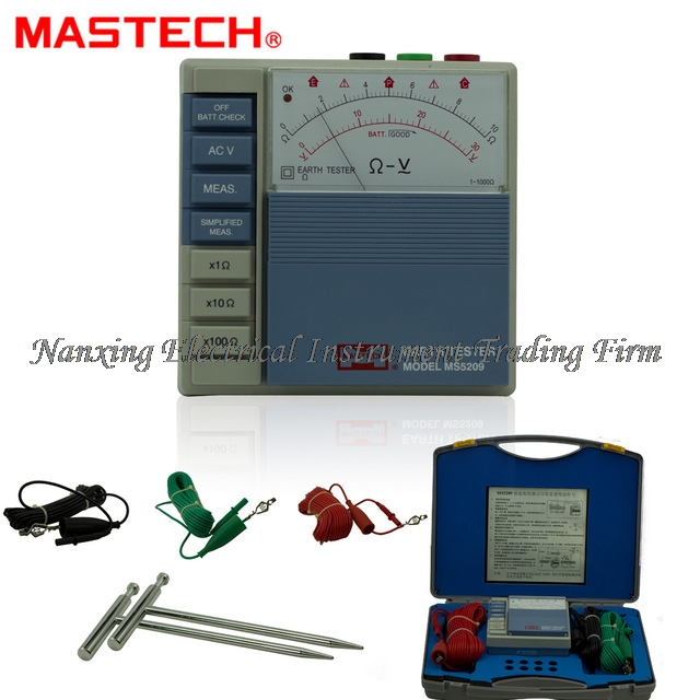 MASTECH MS5209 Analog Earth Resistance Test Meter Megger Megometro Analog 1 1K Low Power Pointer Ground ResistanceTester
