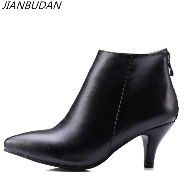 JIANBUDAN Winter high heel ankle boots women s High quality pu leather  autumn boots Professional women s work boots Size 34-43 6f5e94f419