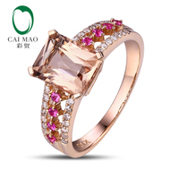 18K Rose Gold 2.18CT Emeral Cut Morganite 0.32ct Diamond Ruby Engagement Ring Free shipping