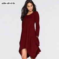 Plus Size Dresses For Women 4xl 5xl 6xl Large Size Fat Dress 2017 Long Sleeve Autumn