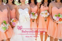 Free Shipping High Quality 5 Hot Styles Sweetheart Ruched Peach Color Bridesmaid Dresses Knee Length Formal Dresses