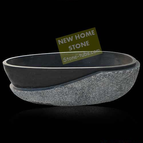 Natural Stone Custom Bathtub Half Rough Gray Carved Oval Granite Freestanding Bathroom Designer Baths Rugged Exterior