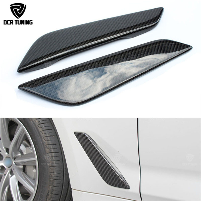 G30 Carbon Fiber Fender Car Front Side Air Vent Cover Trim 2 Pcs For BMW 5 Series G30 Carbon Fiber Fender Trim 2017 + car styling carbon fiber side fender covers trim for nissan gtr base coupe 2008 2016