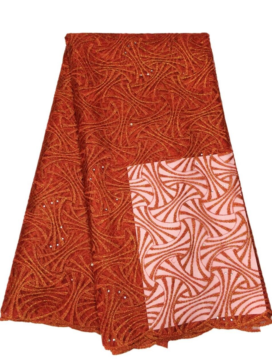 Nueva llegada Bordado rojo africano neto Encaje tela organza ropa ...