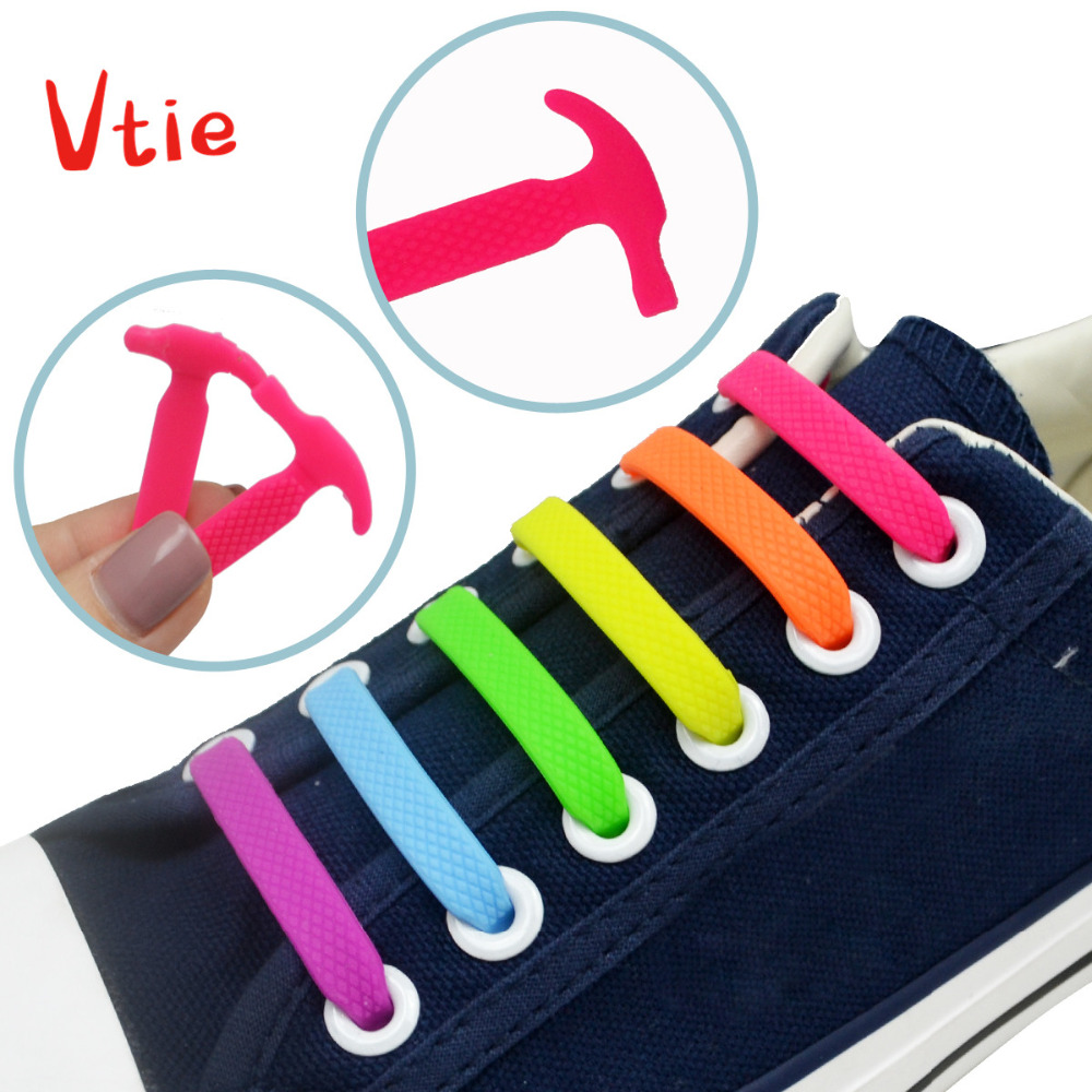 12PCS/Set Children V-tie Elastic No Tie Shoelaces Silicone Slip Easy Sneaker Shoe Laces Lazy Rubber Lace For Children