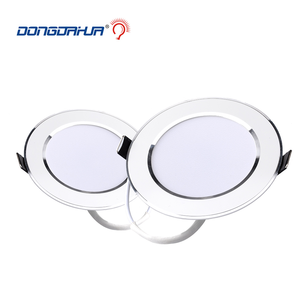 Bright LED Downlight 3w 5w 7w 9w 15w Silver Border Round LED Ceiling Recessed Spot Light 220V- 240V Down Light Cold /Warm White