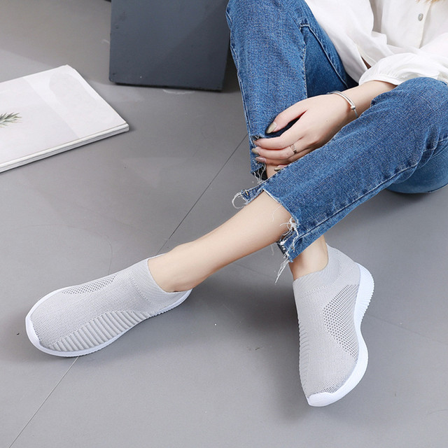 Summer breathable flat shoes women's sports shoes knitted vulcanized shoes mesh anti-slip socks sports shoes сникерсы женские#15 4