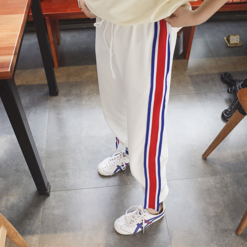 May123 Store Hunter-wish 2017 Spring Fashion Casual Colorful Side-stripe Pants Loose Elastic Waist Chic Pockets Women's Straight Pants