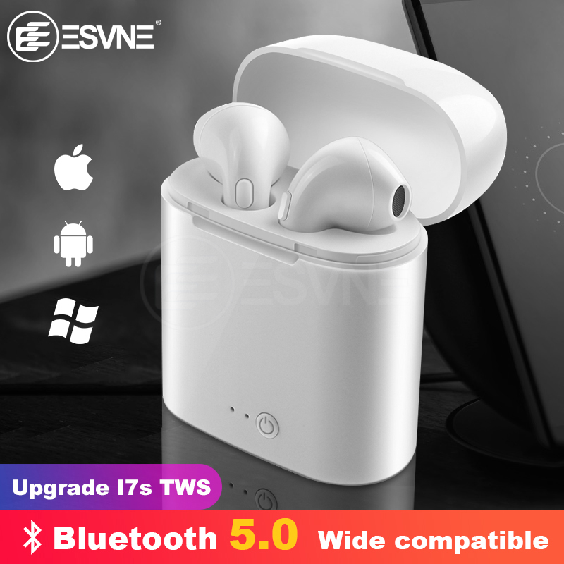 ESVNE I7s TWS Bluetooth Wireless Earphone Stereo Earbud Headset With Charging Box Mic All Bluetooth tablet Smartphone(China)