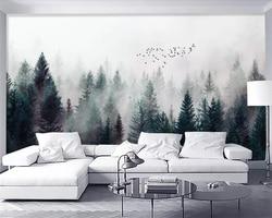 Beibehang пользовательские обои современный свежий туман лес облака летающая птица скандинавский ТВ фон 3d гостиная спальня 3d обои