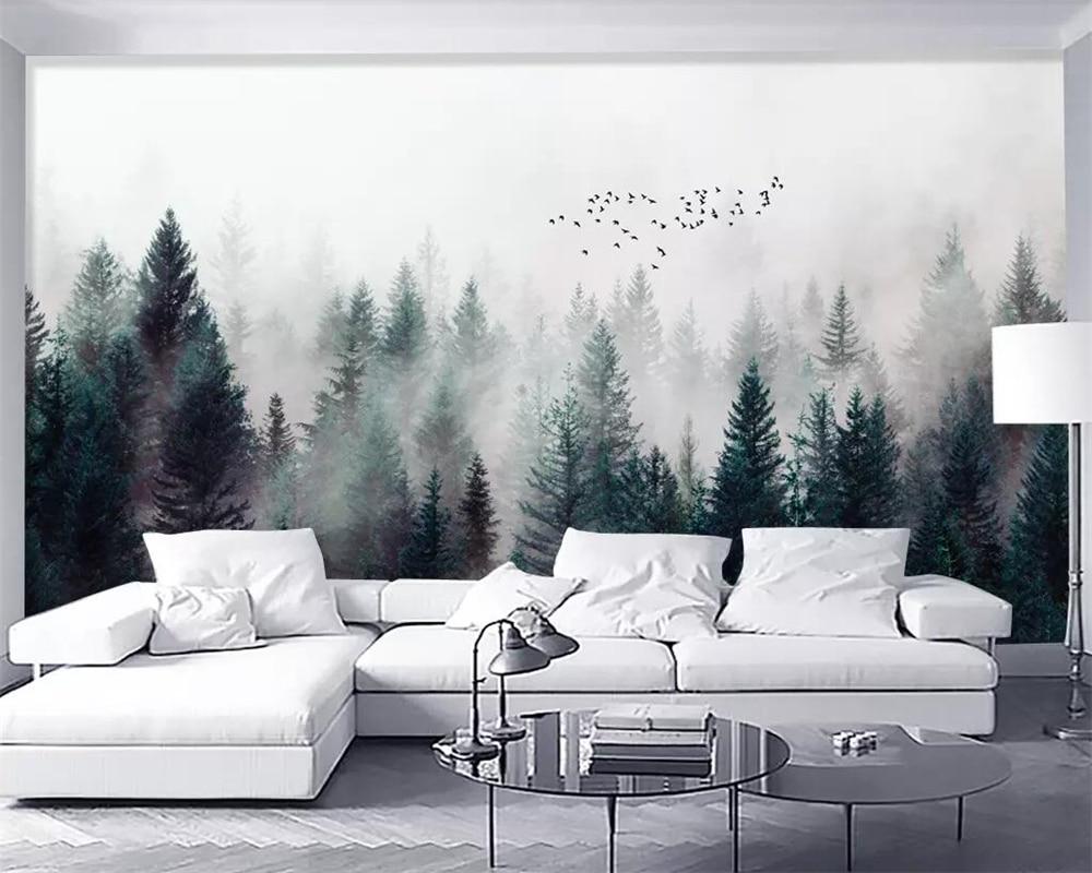 Beibehang Custom Wallpaper Modern Fresh Fog Forest Clouds Flying Bird Nordic TV Backdrop 3d Living Room Bedroom 3d Wallpaper