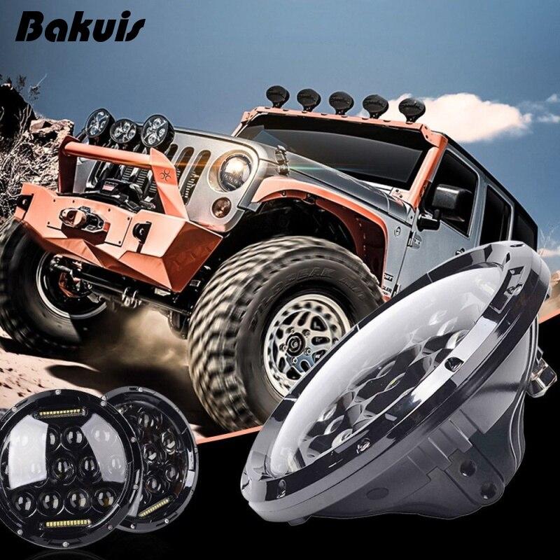 2 x 7″ 75W LED Headlights bulb For Jeep Wrangler JK CJ LJ Humme-r H1 H2 LED Projector Driving Lamps DRL