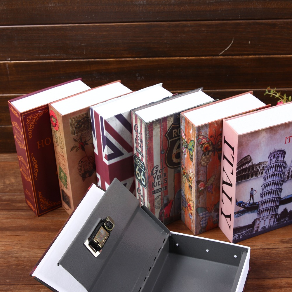 Size S 10/Color Combination Lock Hidden Safe Box Strongbox Steel Simulation Book Home Office Money Phone Safe Storage Box