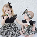 Family Match Baby Girls Kids Romper Dress Party Leopard Fly Lace Sleeve Pageant Tutu Dresses + Headband 2pcs