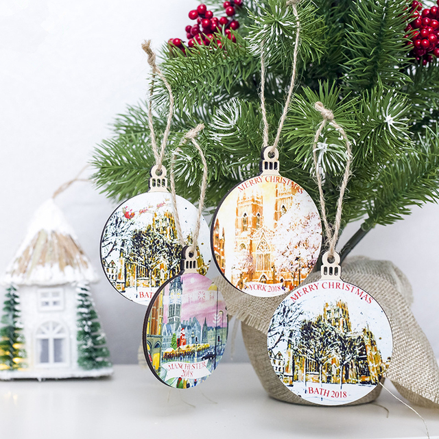 Us 223 14 Off1pc Round Painted Small Wooden Christmas Tree Pendant Ornaments Fashion X Max Window Tag Hanging Decorations For Party Gift In