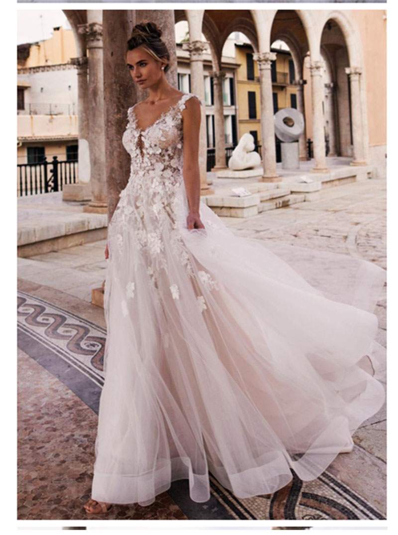 LORIE Princess Wedding Dress 2019 V Neck Appliqued With Flowers A-Line Tulle Backless Boho Wedding Gown  Bride Dress