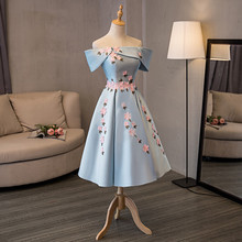 재고 있음 정말로 꽃과 함께 스카이 블루 보트 목 짧은 소매 Vestido 드 Formatura 새틴 구슬 꽃 볼 가운 2017 댄스 파티 드레스