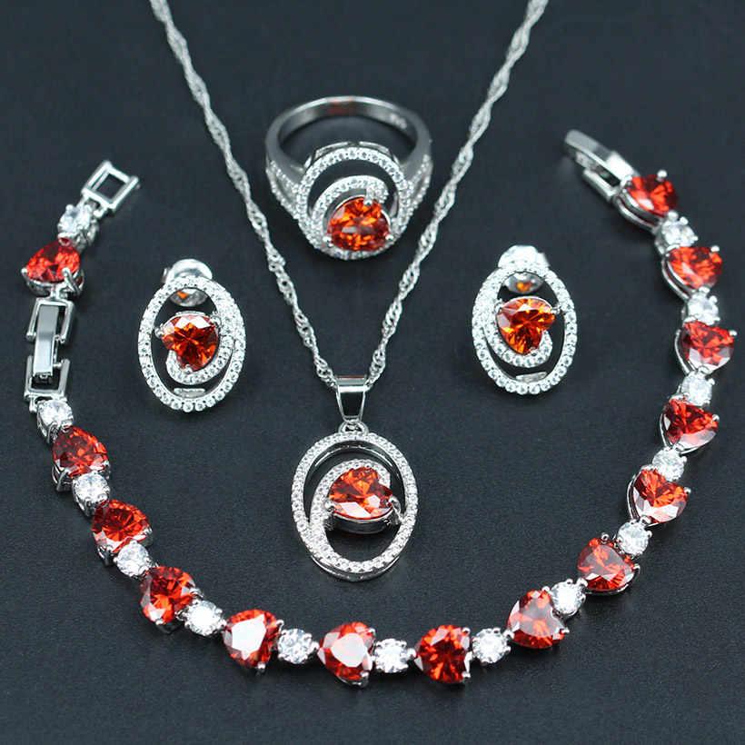 Màu đỏ Hình Trái Tim Trang Sức Phụ Kiện Nữ bridal Wedding Gift Bạc Màu 925 Trắng CZ Bông Tai/Mặt Dây/vòng cổ/Vòng/Vòng Đeo Tay