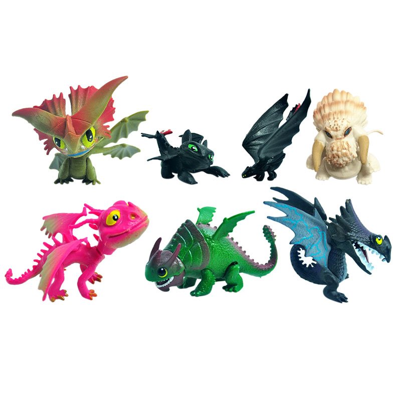 7Pcs/Lot 5-6CM How To Train Your Dragon 2 Figure Night Fury Toothless Action Toy Figures Model Kids Toys Gift For Boy