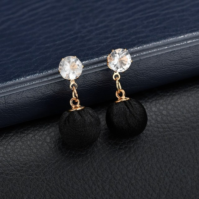 HOSEWYE Fashion CZ Statement Earrings 2018 Cloth Ball Geometric Earrings For Women Hanging Dangle Earrings Modern Jewelry 2