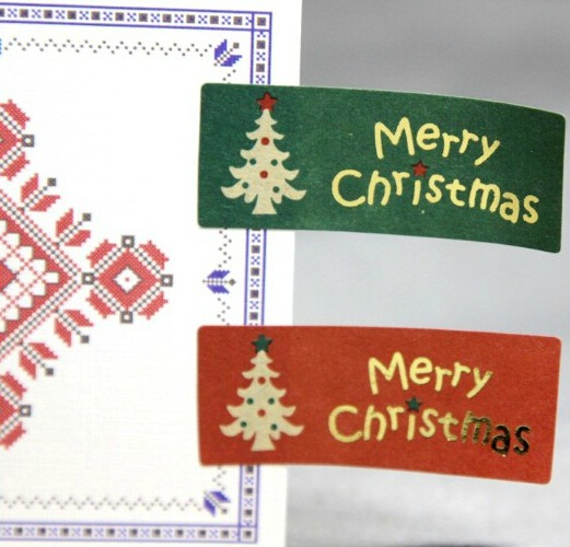 100PCS Vintage Merry Christmas DIY Multifunction Gilding Seal Sticker for handmade products Gift Stickers Gift package Label