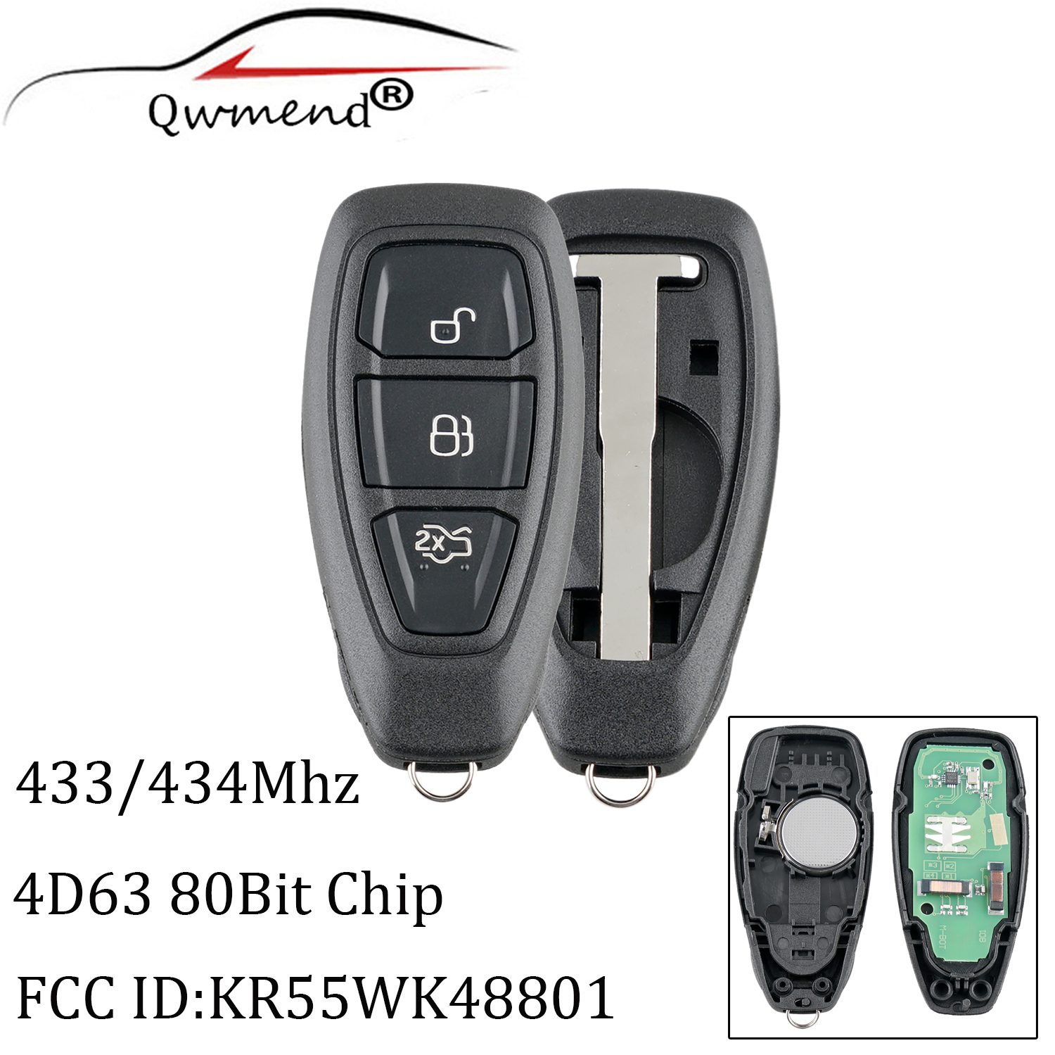 2pcs 3Buttons Smart Remote key For Ford KR55WK48801 434 433Mhz For Ford Focus Fiesta Kuga 2011