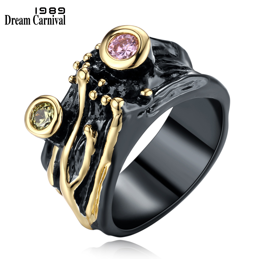 DreamCarnival 1989 Gothic Wide Vintage Rings for Women Black Gold Color Wholesales Discount Pink Olivine Zirconia Bijoux WA11481(China)