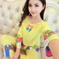 New sleeved cute lady cotton  home clothing spring and autumn man-made cotton pajamas thin summer set pijama pyjamas women