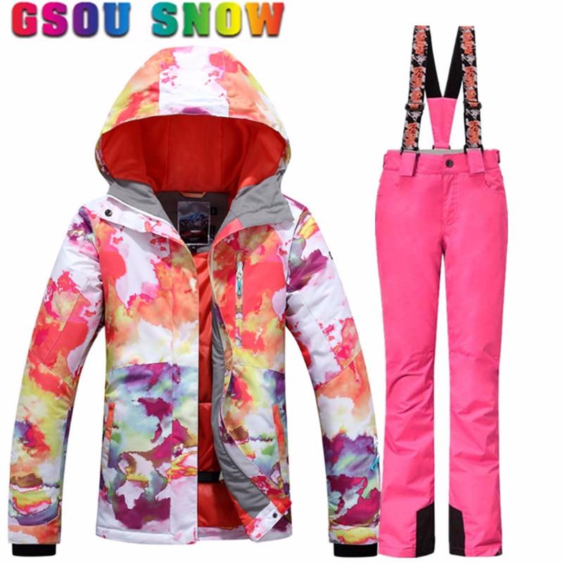 Gsou neige femmes Ski costumes hiver snowboard vestes et pantalons coupe-vent imperméable coloré femme Sports de plein air ensembles de Ski