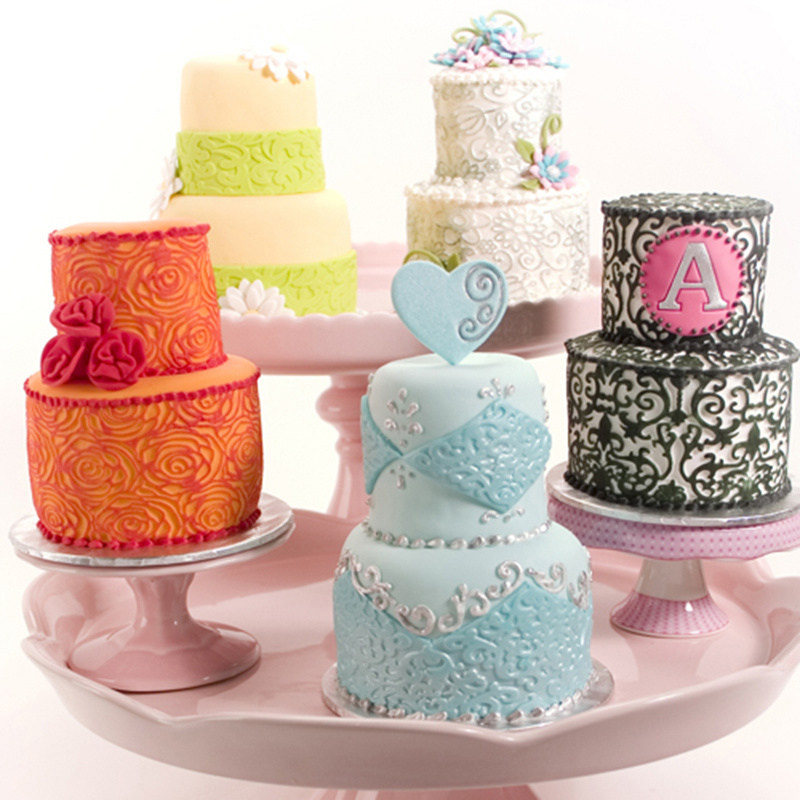 DIY Plastic Floral Cake Mold Texture Molding Mat For Cake And Lace Sugar Craft Decoration Bakeware 25.4*7.8cm 6pcs/set CF0051