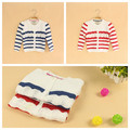 Wholesale 6pcs/lot Baby Girls Striped Cardigan Kids O- neck Coats & Jackets Child Sweater Coat Outerwear