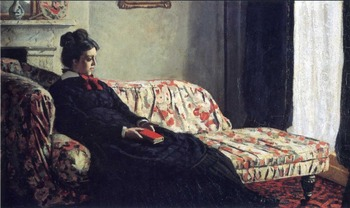 High quality Oil painting Canvas Reproductions Meditation, Madame Monet Sitting on a Sofa (1870-187 By Claude Monet hand painted